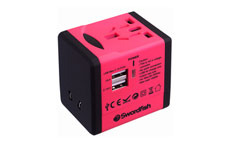 Swordfish VariPlug Dual USB Universal Travel Adapter Pink