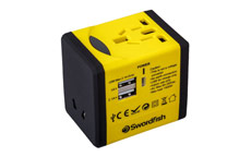 Swordfish VariPlug Dual USB Universal Travel Adapter Yellow