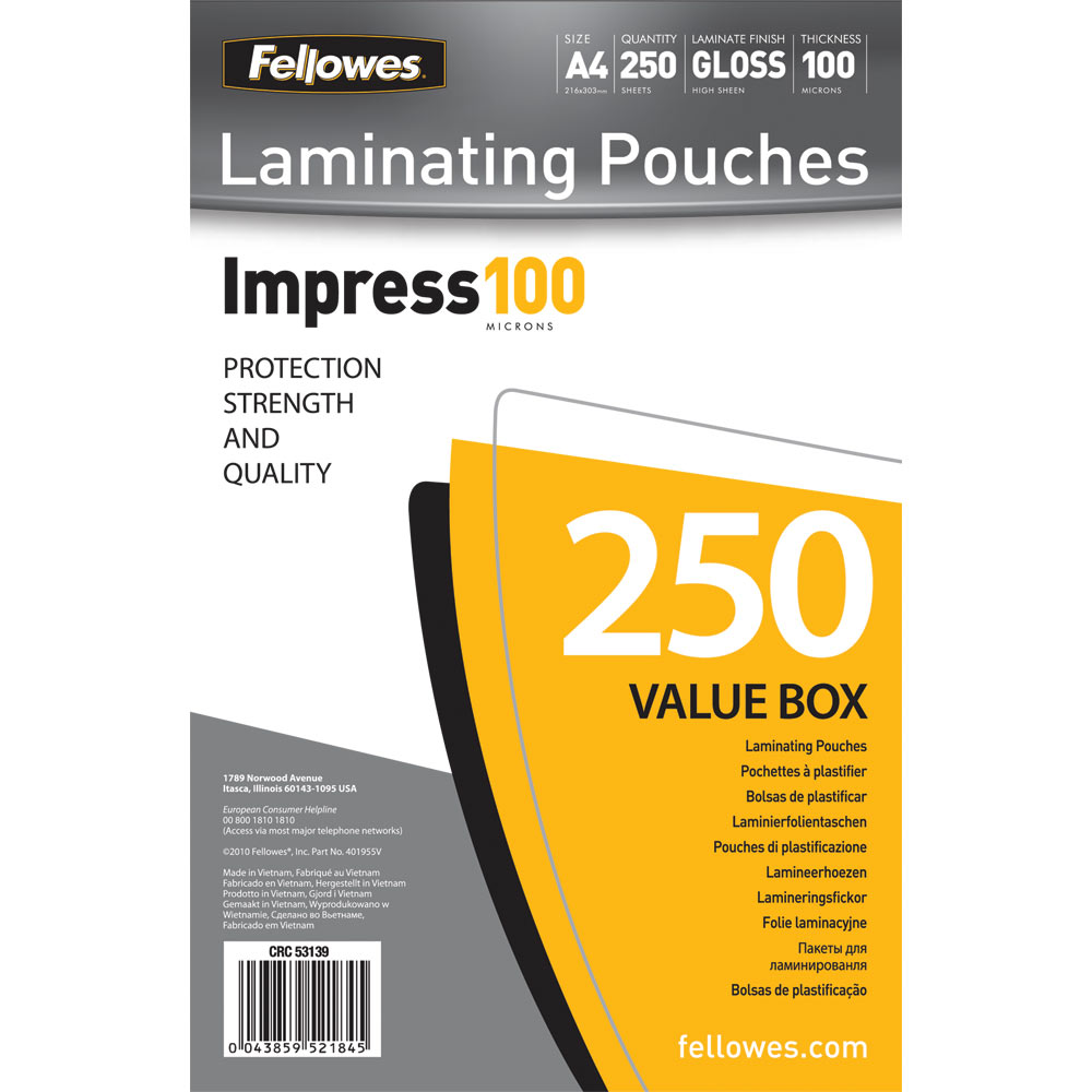 Fellowes 52033 glossy pouches id tag punched with clip 5 mil 25 p