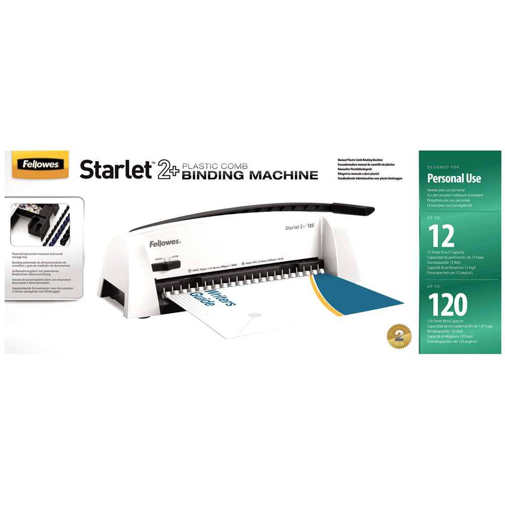 Fellowes Starlet 2+ 120 A4 Manual Comb Binding Machine